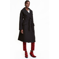 H&M Płaszcz z domieszką wełny 0418506001 Czarny