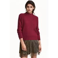 H&M Sweter w prążki 0405442008 Ciemnoczerwony