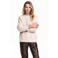 H&M Sweter w warkoczowy splot 0467294001 Jasnobeżowy melanż