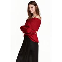 H&M Sweter z odkrytymi ramionami 0443214003 Ciemnoczerwony