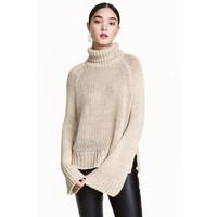 H&M Gruby sweter z golfem 0419448001 Jasnobeżowy