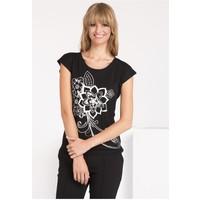 Monnari T-shirt z nadrukiem w kwiaty TSHIMP0-16J-TSH4540-KM20D004-R0S