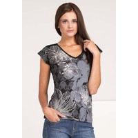 Monnari T-shirt z kwiatowym nadrukiem TSHIMP0-16J-TSH4420-KM20D002-R0S