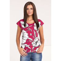 Monnari T-shirt w biało-czarne kwiaty TSHIMP0-16J-TSH4360-KM05D004-R0S