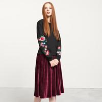 Reserved Bluza z haftowanymi kwiatami na rękawach YFL QR867-99X