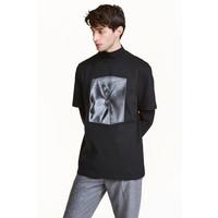 H&M Odblaskowy T-shirt 0437167003 Czarny