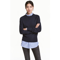 H&M Sweter z cienkiej dzianiny 0470955004 Ciemnoniebieski