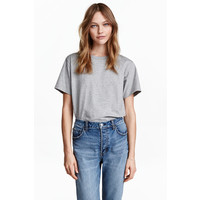 H&M Dżersejowy T-shirt 0456181001 Grey marl