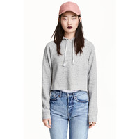 H&M Krótka bluza z kapturem 0381038004 Grey marl