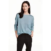 H&M Cienki sweter 0459889007 Turkusowy