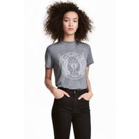 H&M T-shirt z motywem 0452894007 Szary