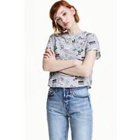 H&M T-shirt z motywem 0452894007 Szary/Wzór