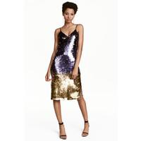 H&M Cekinowa sukienka 0454299001 Fioletowy/Złoty