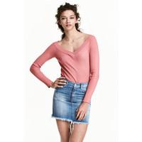 H&M Sweter z odkrytymi ramionami 0446404002 Wrzosoworóżowy