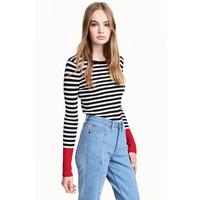 H&M Sweter w prążki 0402474012 Czarny/Białe paski