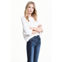 H&M Sweter robiony lewym ściegiem 0244267010 Biały