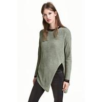 H&M Sweter o luźnym splocie 0398862008 Zieleń khaki