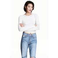 H&M Sweter w strukturalny wzór 0486951001 Biały
