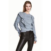 H&M Sweter z falbanami 0499182001 Ciemnoniebieski melanż