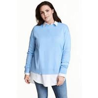 H&M H&M+ Cienki sweter 0445211002 Jasnoniebieski