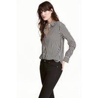 H&M Bluzka z długim rękawem 0478735005 Naturalna biel/Paski