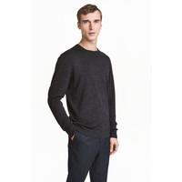 H&M Sweter z wełny merynosowej 0378135001 Ciemnoszary melanż