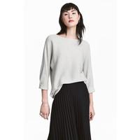 H&M Sweter o splocie w prążki 0411973004 Jasnoszary melanż