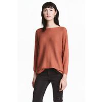 H&M Sweter o splocie w prążki 0411973010 Rdzawy