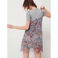 Mohito Dwuwarstwowa sukienka w kwiaty RF225-90X