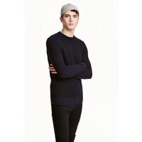 H&M Sweter w strukturalny splot 0438866003 Ciemnoniebieski