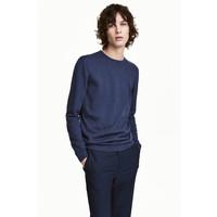 H&M Sweter z bawełny premium 0443638001 Granatowy melanż