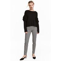 H&M Spodnie cygaretki 0434635005 Czarny/Biały wzór