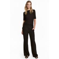 H&M Szerokie spodnie bez zapięcia 0454438002 Czarny