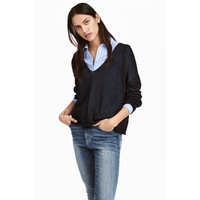 H&M Sweter z domieszką lnu 0484501003 Ciemnoniebieski