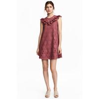 H&M Koronkowa sukienka z falbanami 0476619001 Ciemny ceglastoczerwony