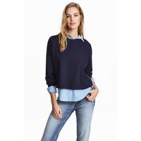 H&M Sweter 0453888003 Ciemnoniebieski melanż
