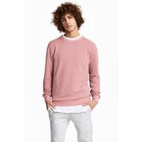 H&M Sweter w strukturalny wzór 0473770002 Bladoróżowy