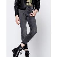Pull&Bear Satynowe jeansy z wysokim stanem 9686/339