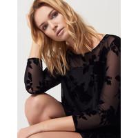 Mohito Czarna sukienka z kwiatowym motywem RH777-99X