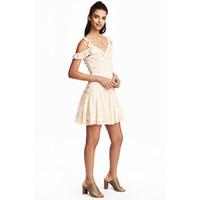 H&M Koronkowa sukienka 0486666001 Naturalna biel