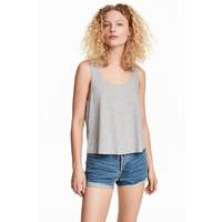 H&M Krótki top na ramiączkach 0218354017 Szary melanż