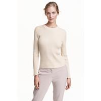 H&M Sweter w prążki 0433112003 Naturalna biel/Brokat