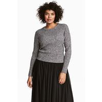 H&M H&M+ Sweter w prążki 0455644001 Czarny/Biały melanż