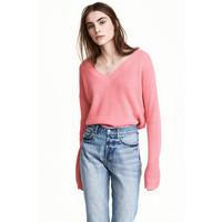 H&M Sweter z dekoltem w serek 0476472001 Różowy