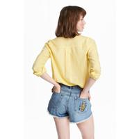 H&M Bawełniana koszula 0463285033 Żółty