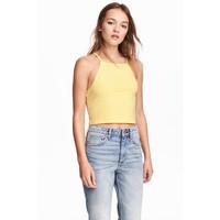 H&M Krótki top na ramiączkach 0377277001 Żółty
