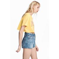 H&M Krótki T-shirt 0537018003 Żółty