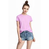 H&M Bawełniany T-shirt 0549480006 Fioletowy