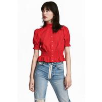 H&M Bawełniana bluzka 0551726003 Czerwony