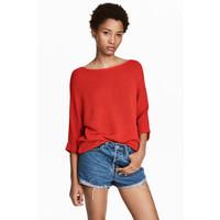 H&M Sweter robiony lewym ściegiem 0244267016 Czerwony